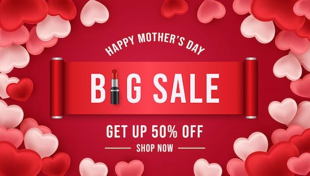 Bannière de grande vente heureuse fête des mères