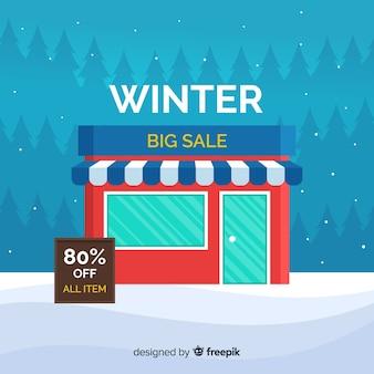 Bannière de grande vente d'hiver