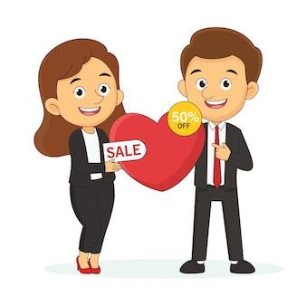 Bannière de grande vente de la saint-valentin avec homme et femme, amour, shopping