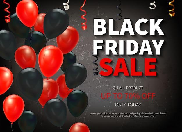 Bannière de grande vente vendredi noir avec des ballons colorés