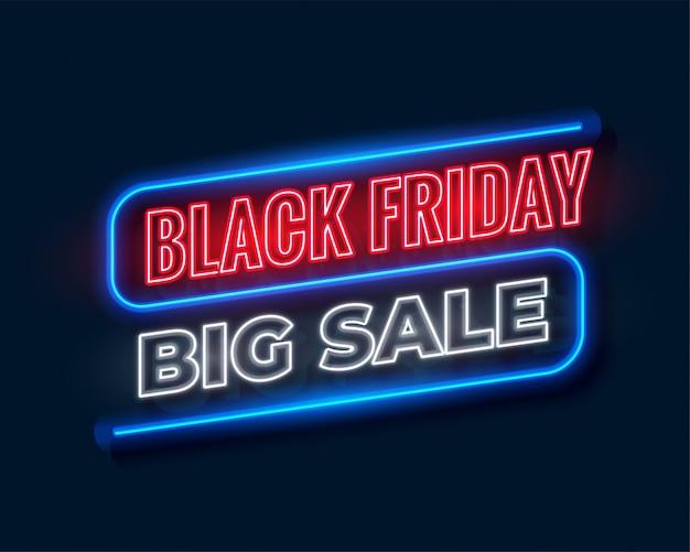 Bannière de grande vente vendredi noir en néon