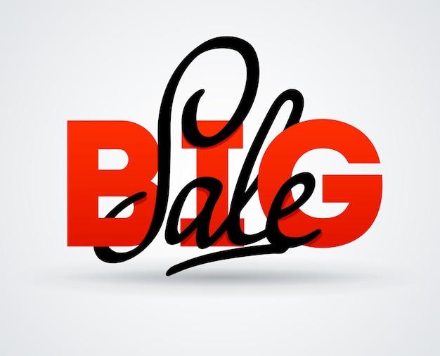 Bannière de grande vente. vente et remises. illustration de l'affiche vectorielle. carte de calligraphie de lettrage de grande vente. modèle de flyer de remise de vente