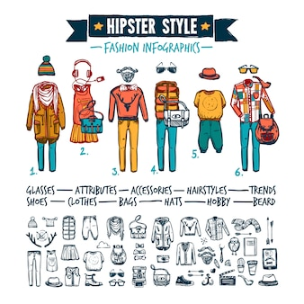 Bannière de griffonnage de vêtements de mode hipster infographie