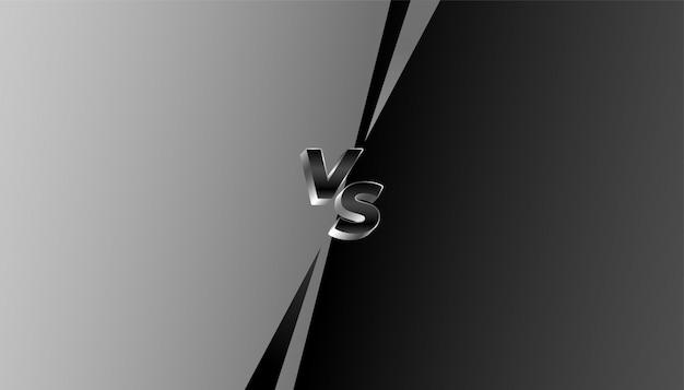 Bannière gris et noir contre vs défi