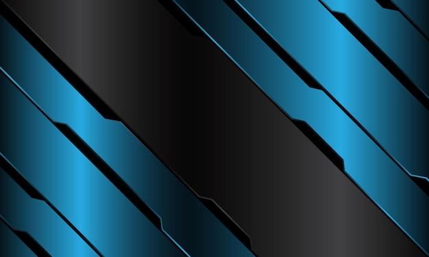 Bannière grise abstraite bleu métallique circuit noir cyber slash géométrique design fond de technologie futuriste de luxe moderne