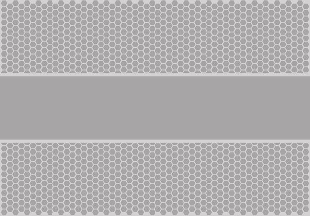 Bannière grise molle sur vecteur de fond maille hexagonale.