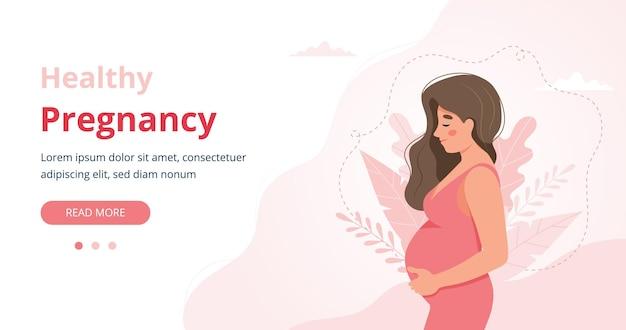 Bannière de grossesse, illustration de femme enceinte dans un style dessin animé mignon