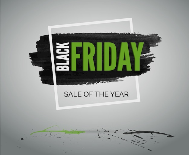 Bannière grunge d'événement de vente avec tache d'encre, cadre, éclaboussures vertes et noires. le black friday réduit la publicité web vectorielle.