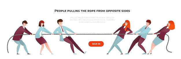 Bannière de guerre de remorqueur. dessin animé des personnes diverses tirant la corde des côtés opposés, du travail d'équipe et de la compétition. personnes de l'équipe de bureau d'illustration vectorielle au concours d'affaires