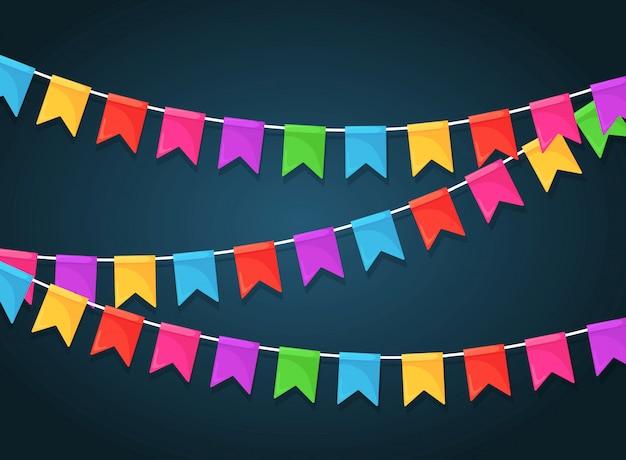 Bannière avec guirlande de drapeaux et rubans de festival de couleur, banderoles. contexte pour célébrer la fête de joyeux anniversaire, carnaval, juste. design plat