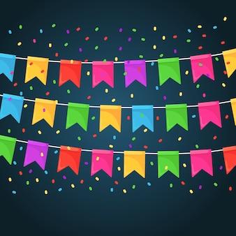 Bannière avec guirlande de drapeaux et rubans de festival de couleur, banderoles. contexte pour célébrer la fête de joyeux anniversaire, carnaval, juste.