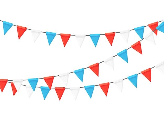 Bannière avec guirlande de drapeaux et rubans de festival de couleur, banderoles.