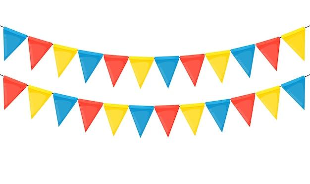 Bannière avec guirlande de drapeaux et de rubans. fond de fête de vacances pour fête d'anniversaire, carnava.