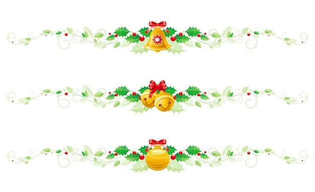 Bannière de guirlande de houx joyeux noël sertie d'arc, décoration d'arbre, grelots.
