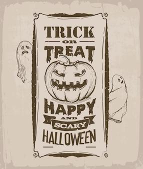 Bannière d'halloween, affiche vintage, rétro