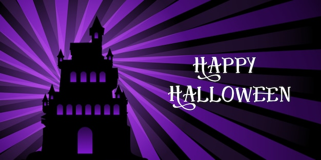Bannière d'halloween avec le château sur la conception de starburst