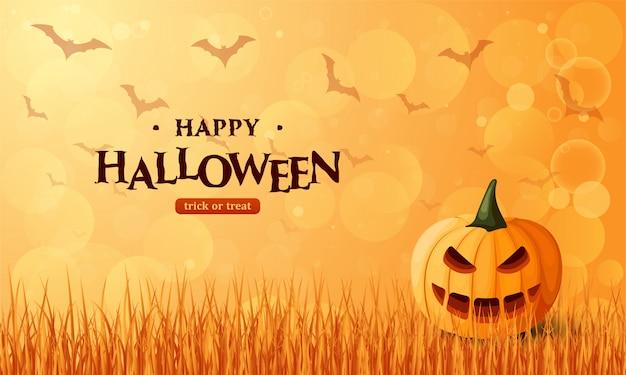 Bannière d'halloween avec citrouille sur l'herbe.