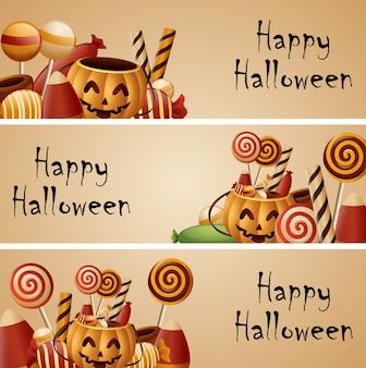 Bannière halloween citrouilles panier et bonbons collectés