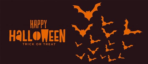 Bannière d'halloween effrayant avec des chauves-souris volantes