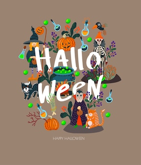 Bannière d'halloween avec des éléments effrayants.