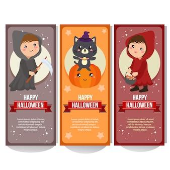 Bannière d'halloween avec des enfants en costume