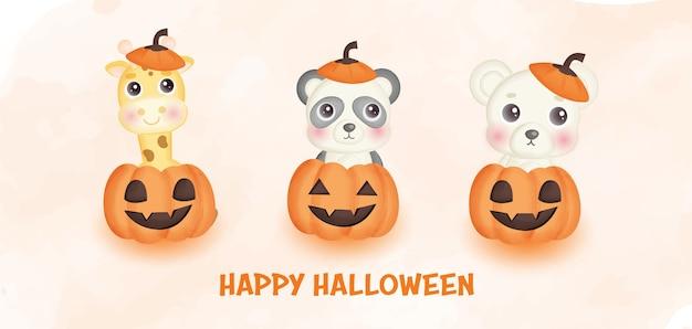 Bannière d'halloween heureux avec des animaux mignons et des citrouilles