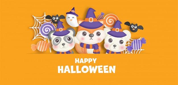 Bannière d'halloween heureux avec des animaux mignons et des fantômes.