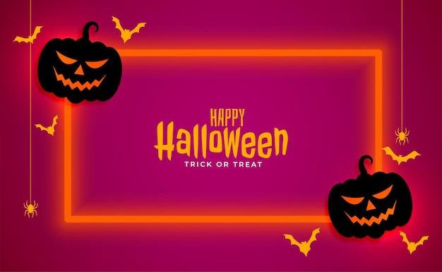 Bannière d'halloween heureux avec cadre néon