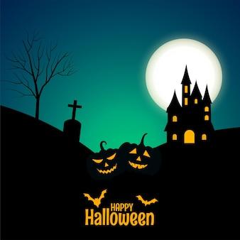 Bannière d'halloween heureux avec château et citrouilles