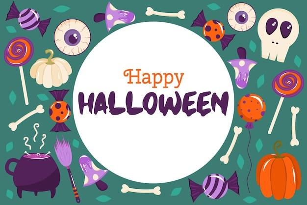Bannière d'halloween heureux dans un cercle avec place pour le texte. il y a des citrouilles, des os, des champignons et des globes oculaires éparpillés sur le fond. illustration vectorielle pour cartes postales ou mises en page.