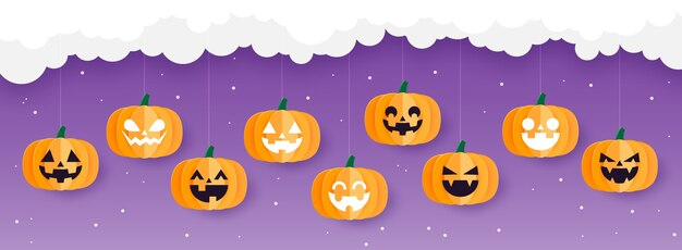 Bannière d'halloween heureux ou fond d'halloween avec des citrouilles d'halloween accroché sur le nuage, style art papier.