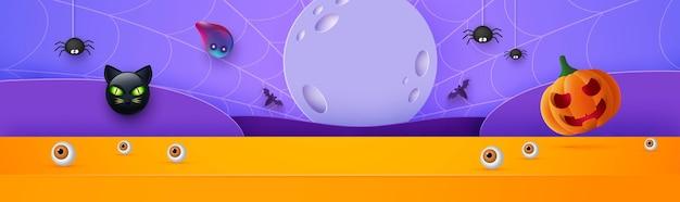 Bannière d'halloween heureux ou fond d'invitation de fête avec la lune, les chauves-souris, le chat et les citrouilles drôles illustration vectorielle. pleine lune dans le ciel, toiles d'araignées et étoiles.