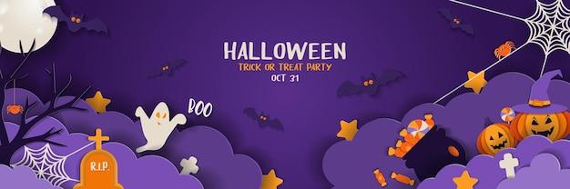 Bannière d'halloween heureux avec des nuages de nuit et des citrouilles dans un style découpé en papier