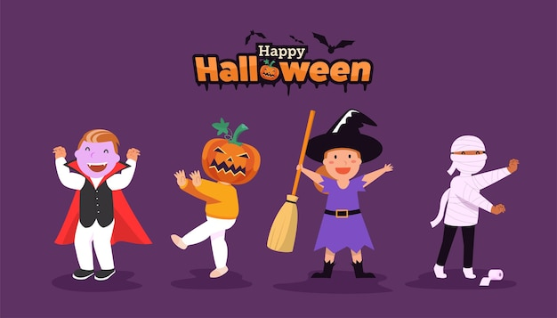 Bannière halloween heureux avec des personnages
