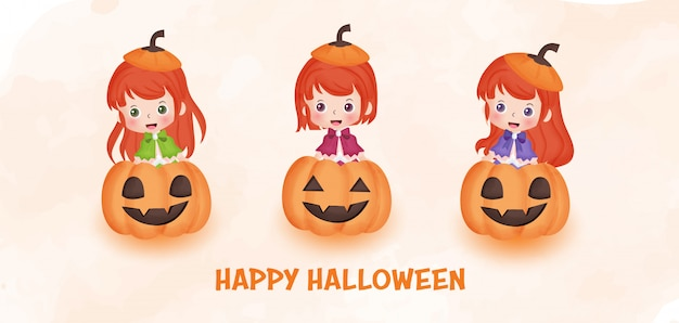 Bannière d'halloween heureux avec sorcière mignonne et citrouilles