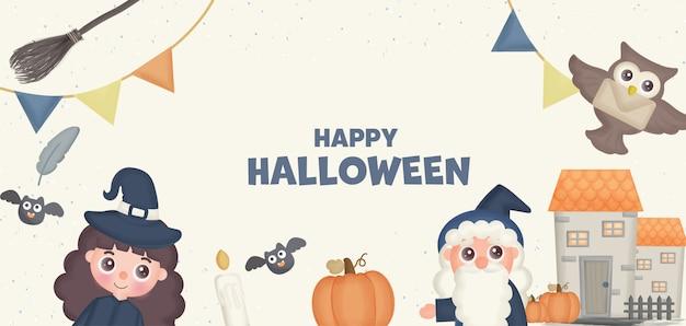 Bannière d'halloween heureux avec sorcière mignonne et élément.