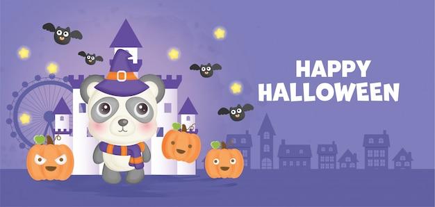 Bannière d'halloween heureux avec sorcière mignonne.