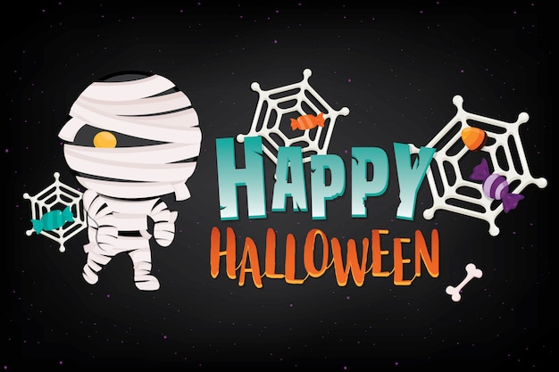 Bannière d'halloween illustration avec décoration sur dark