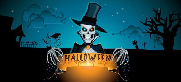 Bannière d'halloween sombre