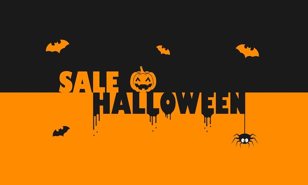 Bannière d'halloween de vente. décoration. notion d'entreprise. décor citrouille, chauve-souris et araignée. vecteur sur fond isolé. eps 10.