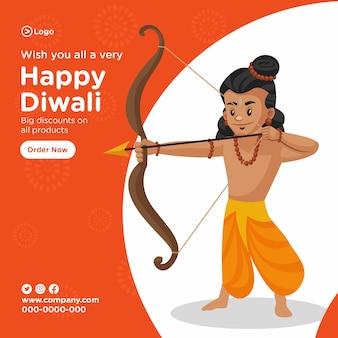 Bannière happy diwali avec illustration de dessin animé de lord rama frappant avec flèche