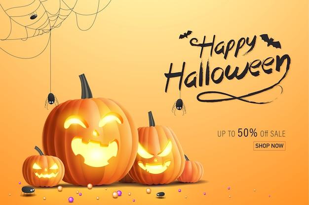 Bannière happy halloween, bannière de promotion de vente avec des bonbons, des araignées, des toiles d'araignée et des citrouilles d'halloween. illustration 3d
