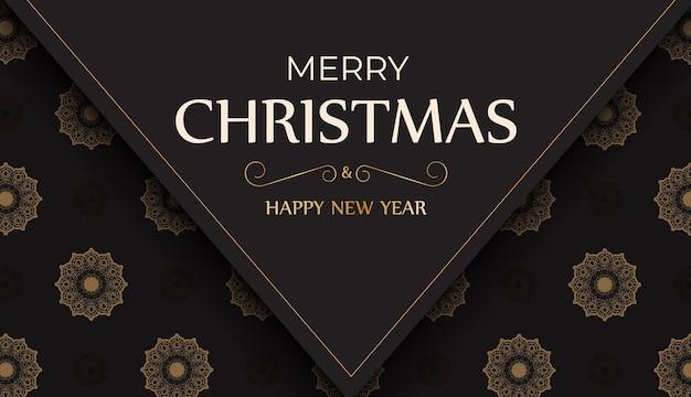 Bannière happy new year et joyeux noël en couleur noire avec motif hiver.
