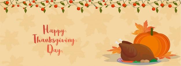 Bannière de happy thanksgiving day.