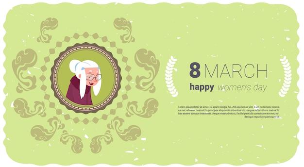 Bannière happy women day avec cute senior lady
