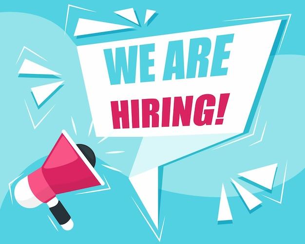 Bannière de haut-parleur de recherche d'employés avec concept de poste vacant