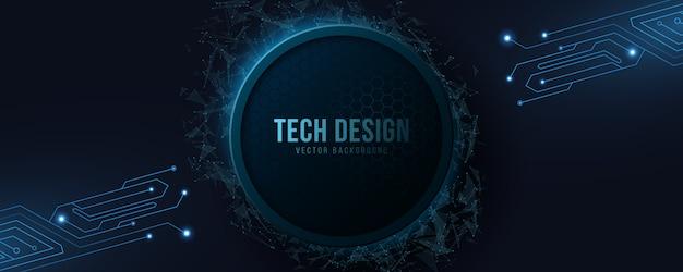Bannière de haute technologie futuriste avec circuit informatique.