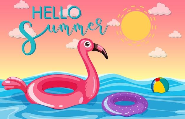 Bannière hello summer avec anneau de natation flamant rose flottant dans la mer