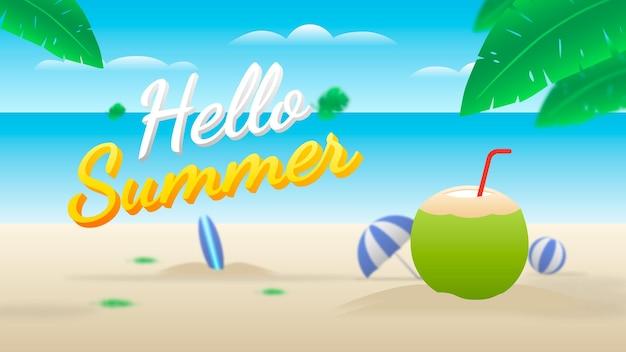 Bannière hello summer avec plage, boisson à la noix de coco, ballon, planche de surf et parapluie.