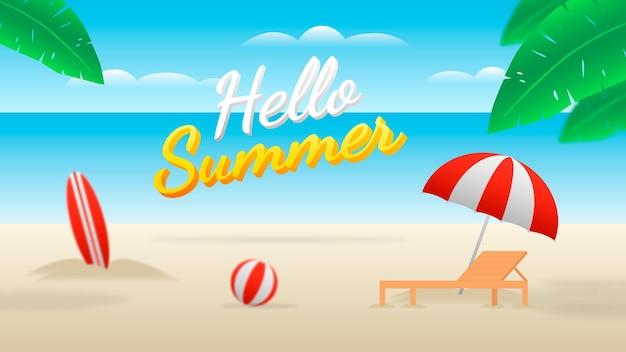 Bannière hello summer avec plage, chaise de plage, ballon, planche de surf et parasol.